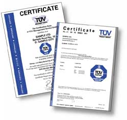 tuv america certificate